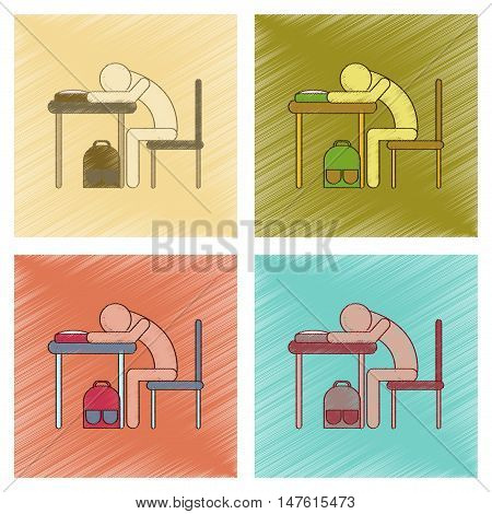 assembly flat shading style icon of student sleeping at the desk