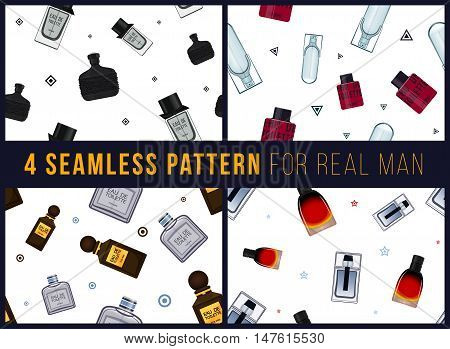 Four seamless pattern for real man. It can be used for packing. Male fragrance. Eau de toilette. Perfume for men. Vector illustration