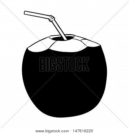 Vector Coconut Cocktail With A Straw. Black And White Illustration.