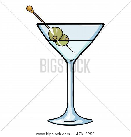 Vector Cartoon Martini Glass With Green Olives