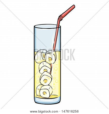 Vector Cartoon Glass Of Lemonade On The Rocks With A Pink Straw.