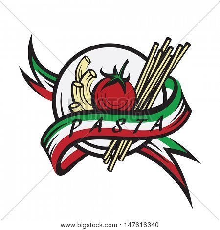 italian pasta banner with ribbon