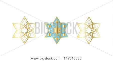 Star of David. David's stars on white background. Festive vector illustration. Jewish Holiday symbols, Rosh Hashana, Sukkot, Passover, Hanukkah. Torah, Shofar.