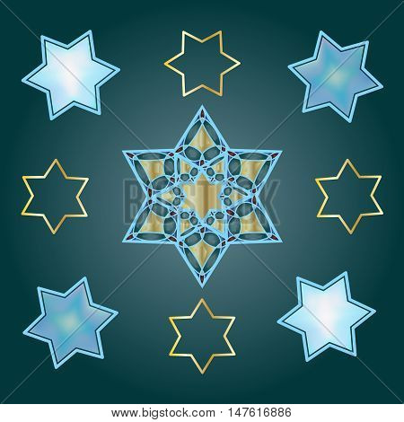 Star of David pattern. David's stars on blue background. Festive pattern, vector illustration. Jewish Holiday, Rosh Hashana, Sukkot, Passover, Hanukkah.