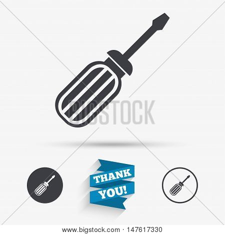 Screwdriver tool sign icon. Fix it symbol. Repair sign. Flat icons. Buttons with icons. Thank you ribbon. Vector