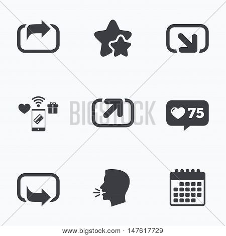 Action icons. Share symbols. Send forward arrow signs. Flat talking head, calendar icons. Stars, like counter icons. Vector