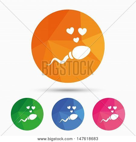 Sperm sign icon. Fertilization or insemination symbol. With heart. Triangular low poly button with flat icon. Vector