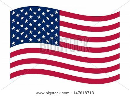 National political official US flag on a white background. vector illustration