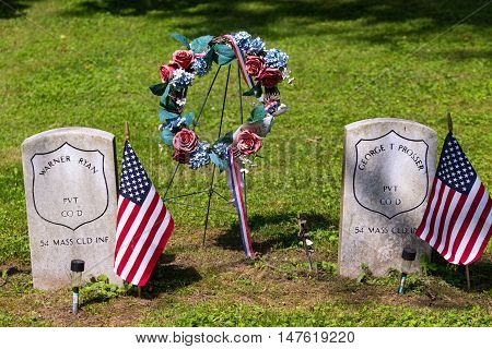 Columbia PA - June 11 2016: Graves of a Federal Soldiers that served in the United States Colored Troops (USCT) in Zion Hill Cemetery.