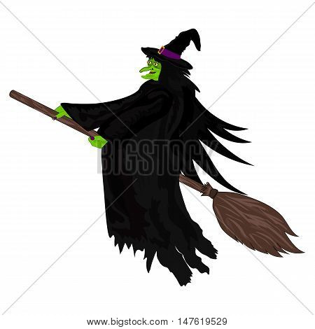 Scary witch witch flying on a broom on Halloween vector poster