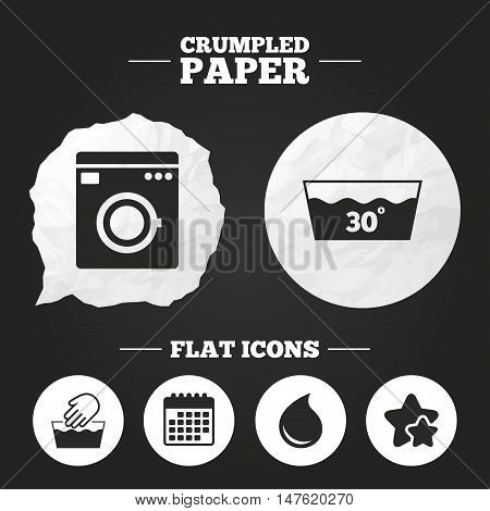 Crumpled paper speech bubble. Hand wash icon. Machine washable at 30 degrees symbols. Laundry washhouse and water drop signs. Paper button. Vector