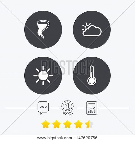 Weather icons. Cloud and sun signs. Storm symbol. Thermometer temperature sign. Chat, award medal and report linear icons. Star vote ranking. Vector