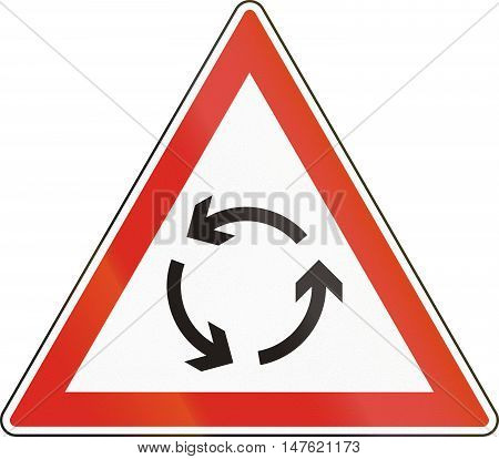 Warning Road Sign Used In Hungary - Roundabout Warning