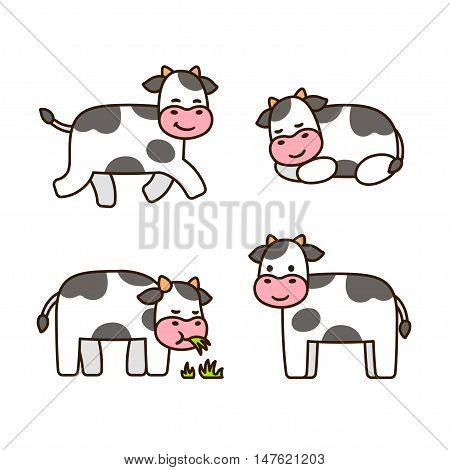 Cute cartoon cow set isolated vector illustrations.