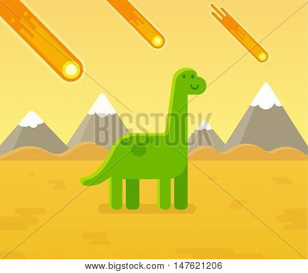 Cute cartoon dinosaur during asteroid strike. Prehistoric extinction event vector illustration.