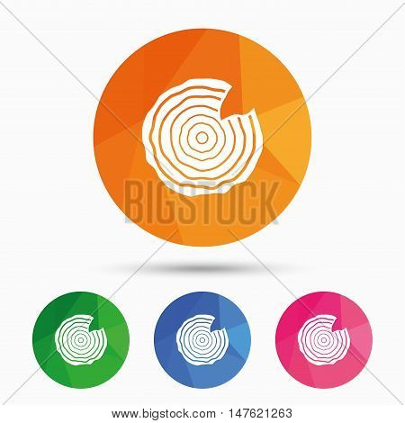 Wood sign icon. Tree growth rings. Tree trunk cross-section with nick. Triangular low poly button with flat icon. Vector
