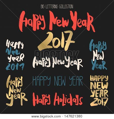 Set of 8 decorative handdrawn lettering. Modern ink calligraphy. Handwritten colorful phrases Happy New Year isolated on black background. Trendy vector design elements for decor, cards and posters