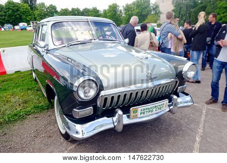 Kharkiv Ukraine - May 22 2016: Soviet retro car grey sedan GAZ M21 Volga Third Series manufactured between 1962 and 1970 is presented at the festival of vintage cars Kharkiv Retro Rally - 2016 in Kharkiv Ukraine on May 22 2016