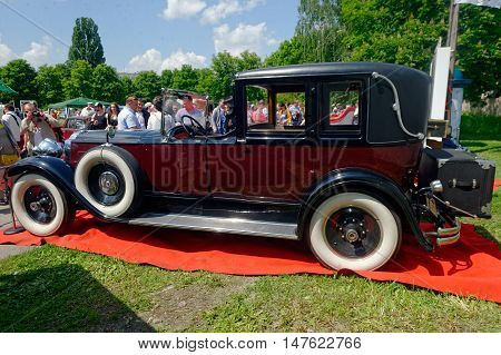 Kharkiv Ukraine - May 22 2016: Retro car Packard Single Eight 143 manufactured between 1924 and 1931 is presented at the festival of vintage cars Kharkiv Retro Rally - 2016 in Kharkiv Ukraine on May 22 2016
