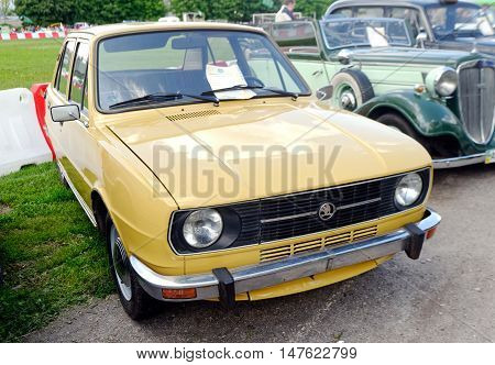 Kharkiv Ukraine - May 22 2016: Retro car Skoda 120L manufactured in 1971 is presented at the festival of vintage cars Kharkiv Retro Rally - 2016 in Kharkiv Ukraine on May 22 2016