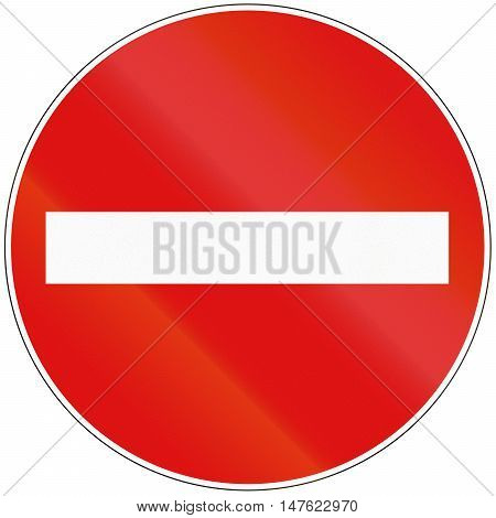 Hungarian Regulatory Road Sign - No Entry For Vehicular Traffic