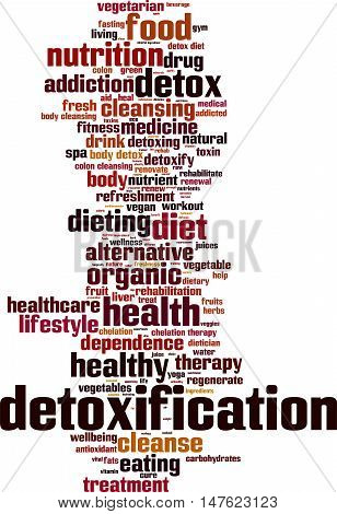 Detoxification word cloud concept. Vector illustration on white