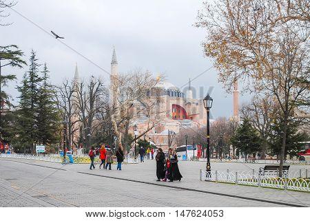 ISTANBUL AYA SOPHIA MOSQUE - JANUARY 7/2013: Orthodox pilgrims visited the Aya Sofia mosque during the Christmas holidays.