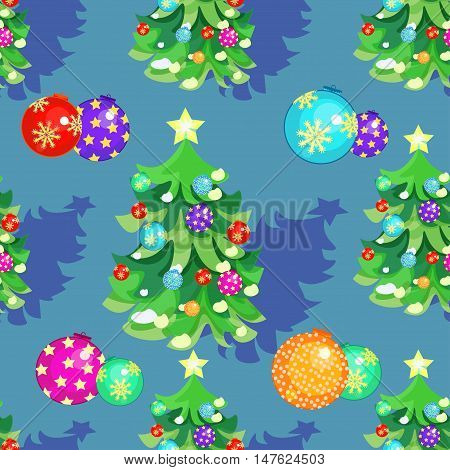 Seamless Pattern Fishbone In New Year's Balloons And Christmas Gifts On Blue. Vector Illustration