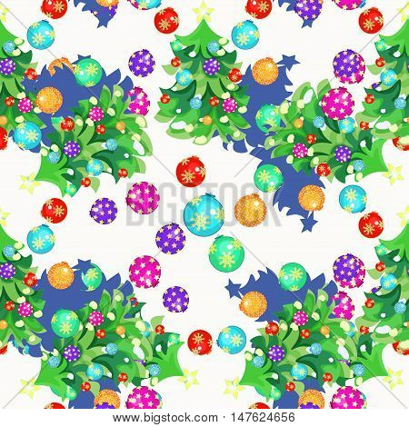 Seamless Pattern Fishbone In New Year's Balloons And Christmas Gifts On White. Vector Illustration