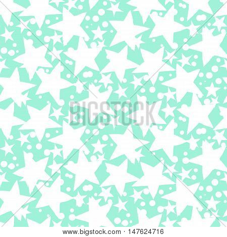 Vector seamless pattern with white stars and dots on mint green background. Fun ditsy print with night sky, constellations and twinkle lights. Concept of astrology and birthday and holiday spirit poster