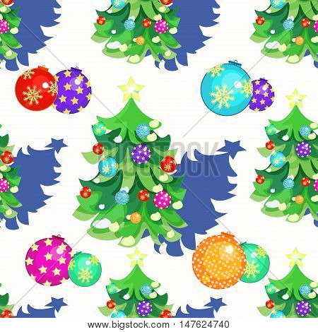 Seamless Pattern Fishbone In New Year's Balloons And Christmas Gifts. Vector Illustration