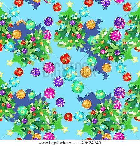 Seamless Pattern Fishbone In New Year's Balls And Christmas Balls On Blue. Vector Illustration