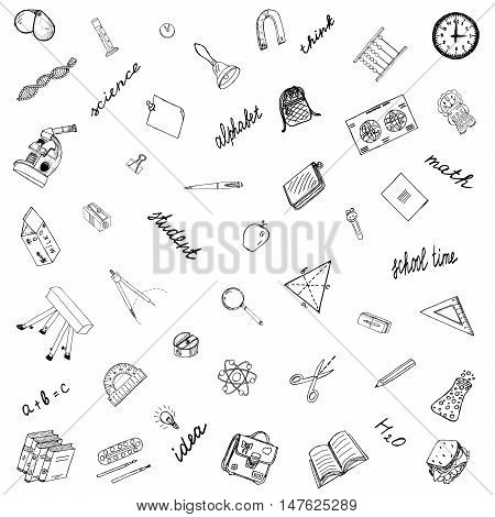 School Time. Hand Drawn Icons. Ideal Set Drawings protractor, book, pencil, map, magnifying glass, compass, notebook, calculator, bell, for Schooling Mood Design. Sketch illustration. Doodles Vector.