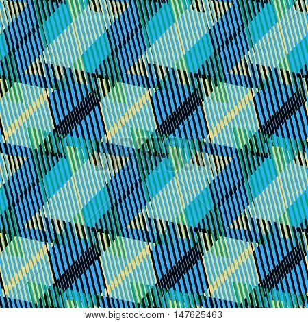 Abstract colorful pattern with stripes and geometric shapes. Seamless geometric modern print in bright blue green colors. Modern textile design with dynamic tech lines for summer fall fashion. Vector