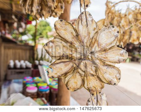 Dried salted fish selling at Thai local market Northeast of Thailand