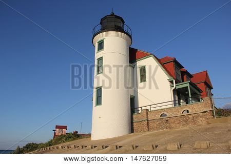 Point Betsie Lighthouse and fog horn building in Michigan