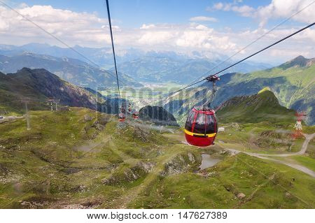 Cable car cabin on the way to Glassier in Austrian Alps