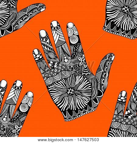 Seamless Floral palm background, hand drawn zentangle style for our design. Vector illustration