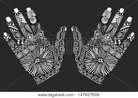 Two Monochrome Floral palm, hand drawn zentangle style for our design. Vector illustration, Isolated on white