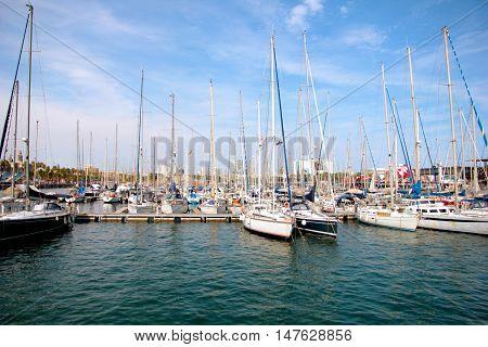 beautiful sea yacht in the port of Barcelona, Spain