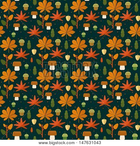 Autumn foliage seamless pattern. Fall theme background with leaves mushroom and acorns in flat style. Flat vector illustration.