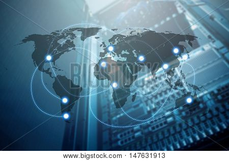Double exposure of world map connecting and blurred data center of server and storage with internet Technology and network connection concept world map element of this image furnished by NASA
