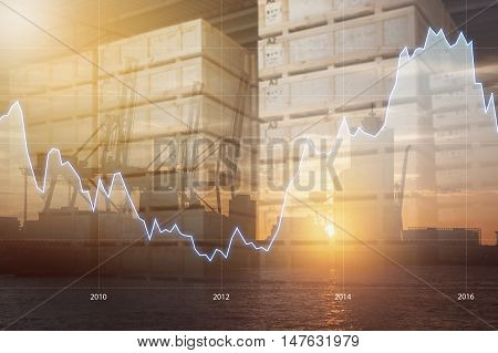 Double Exposure Of International World Financial Graph , Transportation Port And Blurred  Distributi