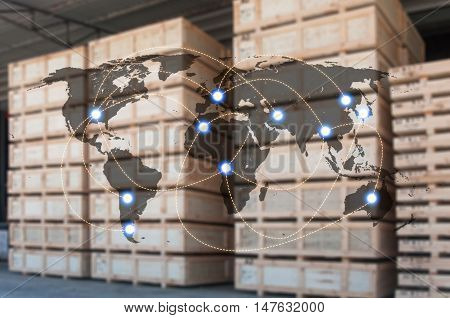World international map connection connect network with blurred distribution logistic cargo warehouse background Transportation and business concept element of this image furnished by NASA