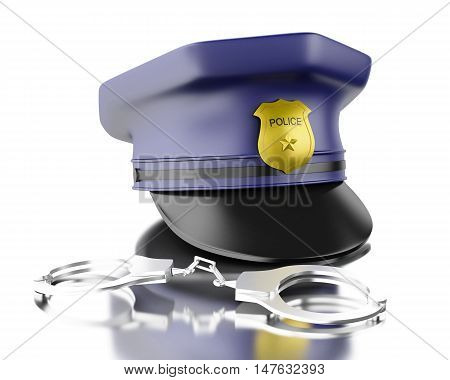3d Illustration. Blue officer cop cap with handcuffs. Isolated white background.