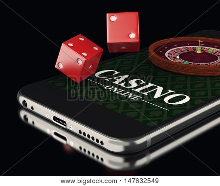3d illustration. Smartphone with roulette and dice. Online casino concept.