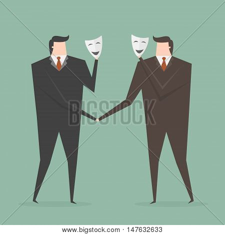 Businessman Shaking Hands With Partner Hiding Behind Mask. Business concept cartoon illustration.