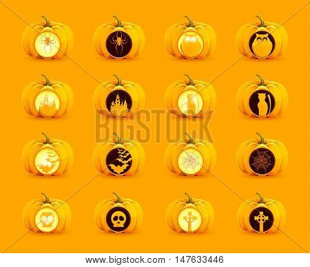 Stock vector set of pumpkins for Halloween