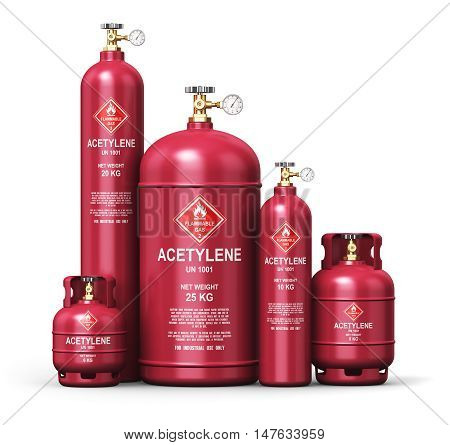3D render illustration of the set of red metal steel liquefied compressed natural acetylene gas containers or cylinders with high pressure gauge meters and valves for industrial welding of pipes and tubes isolated on white background