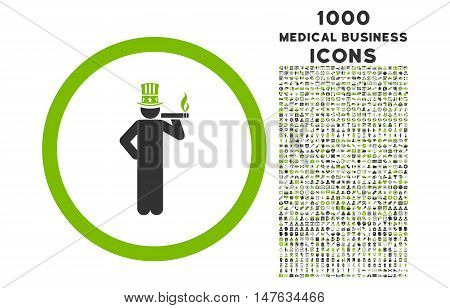 American Capitalist rounded vector bicolor icon with 1000 medical business icons. Set style is flat pictograms, eco green and gray colors, white background.
